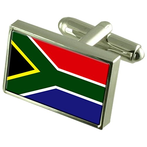 South Africa Sterling Silver Flag Cufflinks in Engraved Personalised Box by Select Gifts