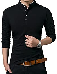 Men's Long Sleeve Casual Collared Polo Shirt Top