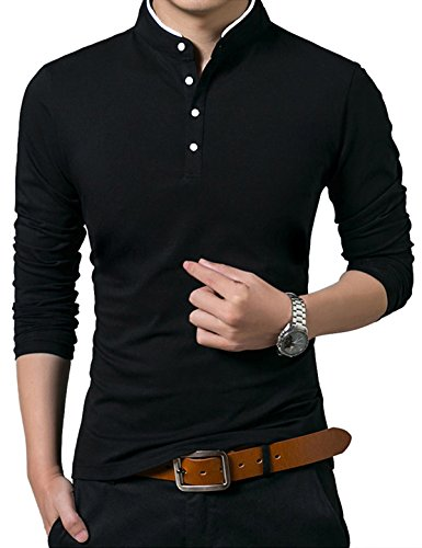 MOCOTONO Men's Long Sleeve Casual Collared Polo Shirt Top Black XL