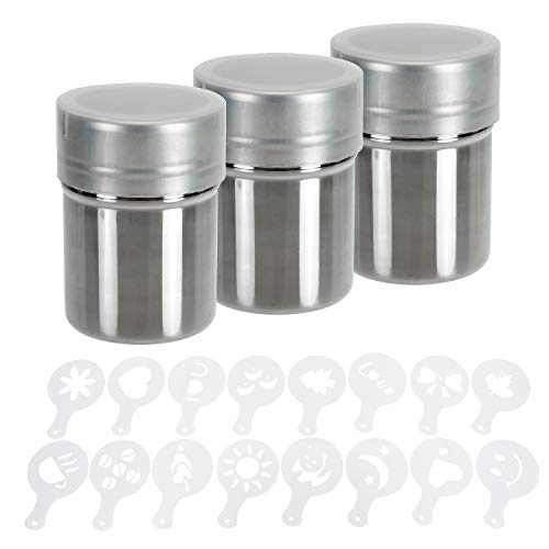 - Lawei 3 Packs Stainless Steel Powder Shaker with 16 Decorating Stencils - Coffee Cocoa Cinnamon Dredges with Fine-Mesh Lid Cooking Tools