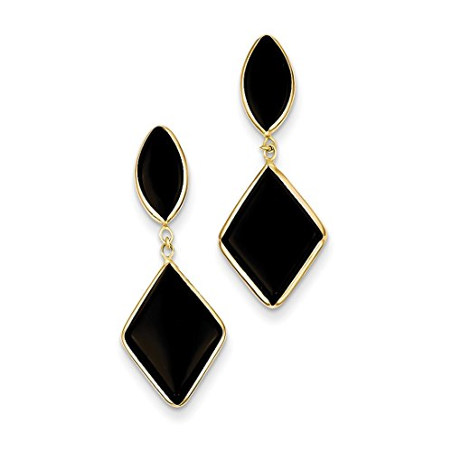 Earrings 14k Onyx Drop (14k Yellow Gold Black Onyx Drop Dangle Chandelier Post Stud Earrings Fine Jewelry For Women Gift Set)
