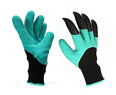 CHUNG Garden Genie Gloves with Right Hand Sturdy Claws Dig Plant Safe for Rose Pruning - As Seen On TV