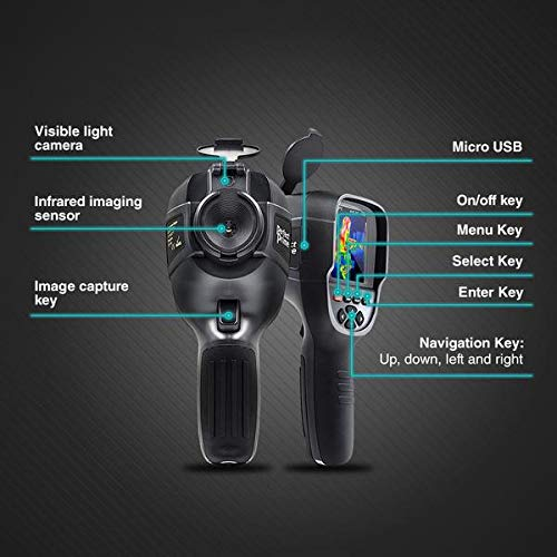 Perfect Prime IR0018 Infrared Thermal Imager Camera with IR Resolution 35,200 Pixels & Temperature Range from-4~572°F, 9 Hz Refresh Rate, Black