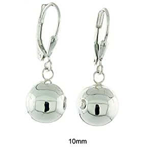 094484143 Amazon.com: Sterling Silver High Polished Ball Leverback Dangling ...