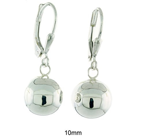 - Sterling Silver High Polished Ball Leverback Dangling Earrings, 10mm
