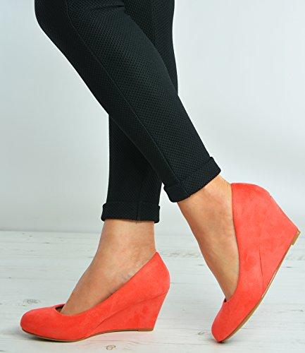Cucu Fashion - Sandalias con cuña mujer Coral / Pink