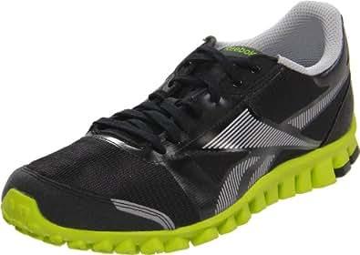 Reebok Men's Realflex Optimal Running Shoe,Black/Pure Silver/Charged Green,6.5 M US