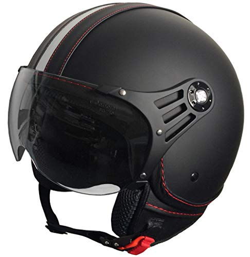 RALLOX Jethelm P01 Retro matt schwarz Motorradhelm Größe L Sturzhelm Helm Rollerhelm