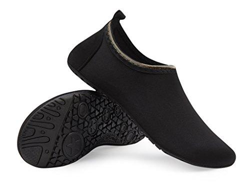 Agua Agua Zapatos Unisex Respirable schwarz Calzado Playa de Zapatos Color Piscina Natación de Rápido de de de LK Soles Tkc Secado LEKUNI 5ZqwTPxI