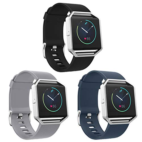 SKYLET Compatible with Fitbit Blaze Bands, 3 Pack Soft Silicone Replacement Sport Wristband with Stainless Steel Frame Compatible with Fitbit Blaze Bracelet (No - Blaze Collar