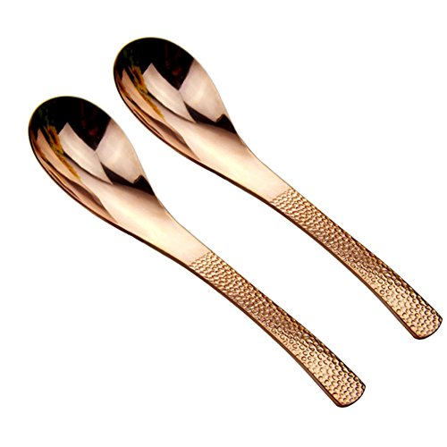 ROOS Copper Tableware 6.2 Inch Soup Spoon Pack of 2 (Red copper)