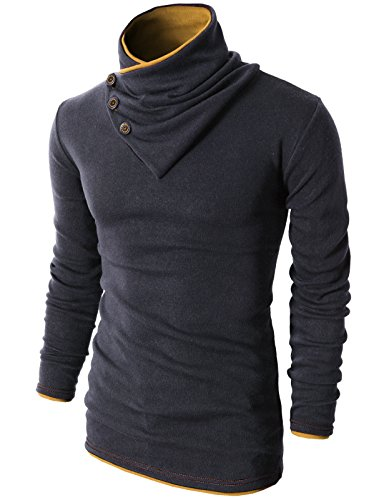(H2H Mens Fashion Turtleneck Slim Fit Pullover Sweater Oblique Line Bottom Edge Charcoal US S/Asia M (KMTTL040))