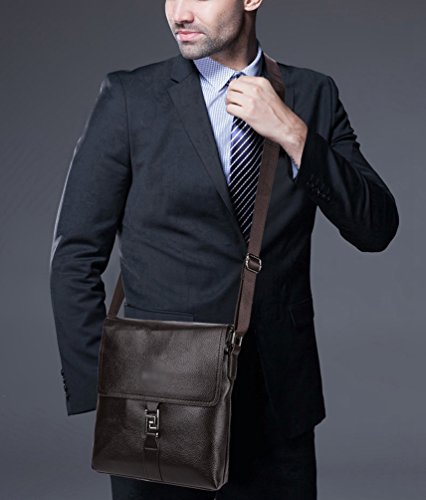 Satchel Vintage 26 Linnuo Brown Mens's 5cm brown Bag Bags Leather Shoulder Crossbody Messenger Briefcase Office Pu 23 xPF60wqaP