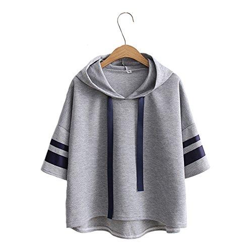 ea7f2f49c676e モリマート)Morimart レディース Tシャツ 七分袖 夏 サマー フード付き スウェット シンプル