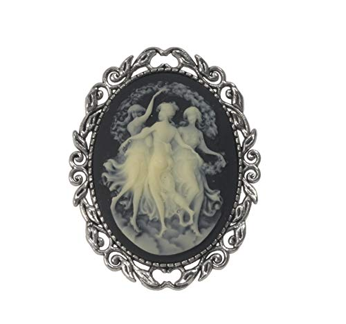 ViciBeads Brooch, Three Muses (Graces) Faith Hope Charity Classical Greek Acrylic Cameo Antique Silver Plated Brooch Bag