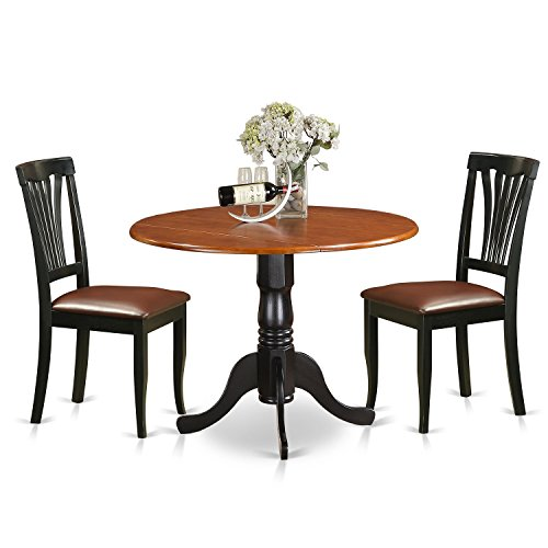 East West Furniture DLAV3-BCH-W 3 Pc Kitchen Nook Dining Set-Kitchen Table and 2 Kitchen Chairs For Sale
