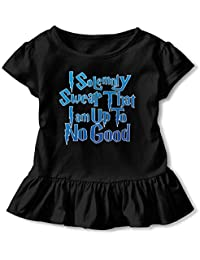 I Solemnly Swear That I Am Up to No Good Baby Skirts Fashion Little Girls Soft Short Sleeve Casual Dress Outfit 2-6 Years.