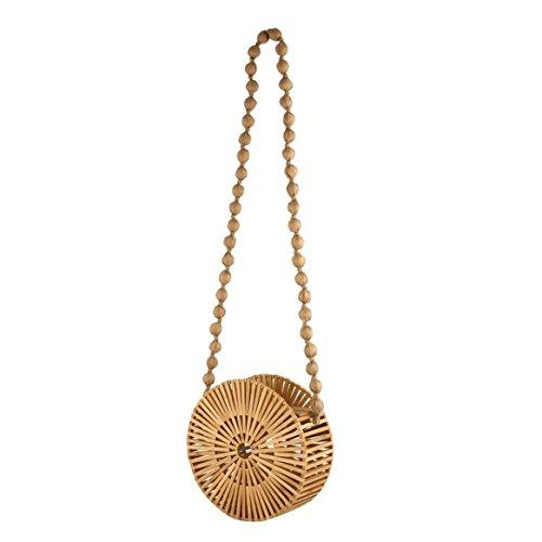 Delicacydex Bolso tejido redondo de bambú del color sólido Bolso ocasional de hombro de las mujeres ahueca hacia fuera el crossbody para ir de compras