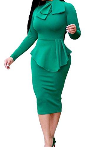 Lunghezza Al Sexy Bodycon Sera Sottile Arco donne Vestito Partito Verde Ginocchio Di Coolred 64Fqwa
