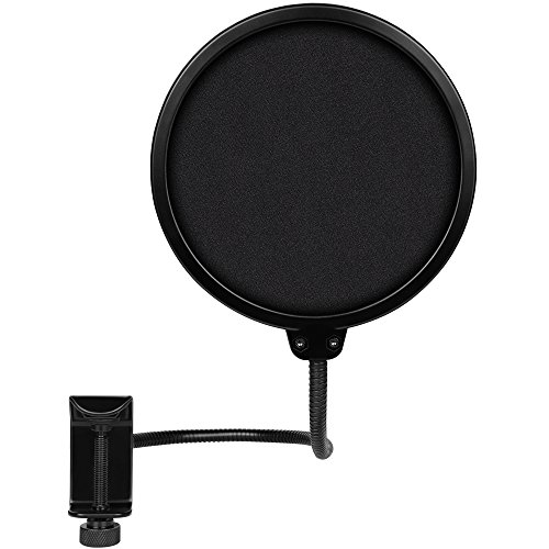 BC Master Pop Filter for Blue Yeti Snowball, AT2020, Metal Stand Clip,Studio Microphone Recording Pure Sound Durable Material Double Nylon Net (5-inch) PF12