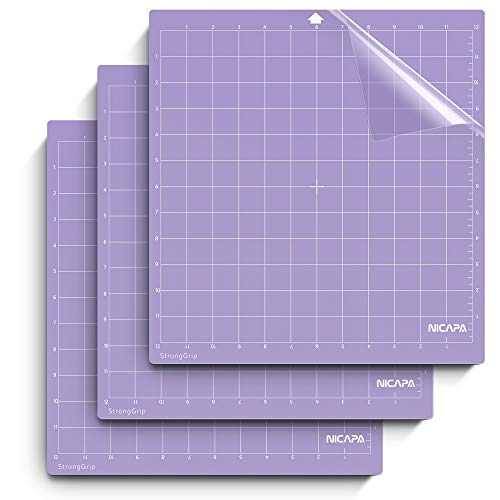 Nicapa Cutting Mat for Silhouette Cameo 3/2/1 [Strong-Grip,12x12 inch 3pack] Adhesive&Sticky Non-Slip Flexible Square Gridded Purple Cut Mats Replacement Accessories Set matts Vinyl Craft Sewing Cloth