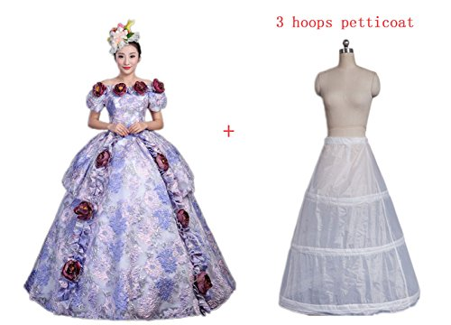 Zukzi Womens Short Sleeve Off Shoulder Victorian Fancy Prom Dress with 3 Hoops Petticoat, 221, US 4 by Zukzi