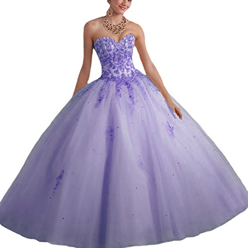Vnaix Bridals Princess Lace with Tulle Sweet 16 Prom Quinceanera Dress(6,Lilac)
