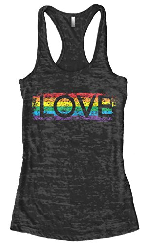 Threadrock Women's Gay Pride Rainbow Love Burnout Racerback Tank Top M Black (Tank Love Top Womens)