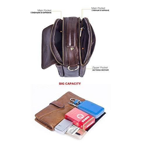 Brown Aire Hombro Llevar del Recorrido Libre Solo fácil de al Bolso Haixin Cuero Hombre Bolso Mini de w0qRR4a