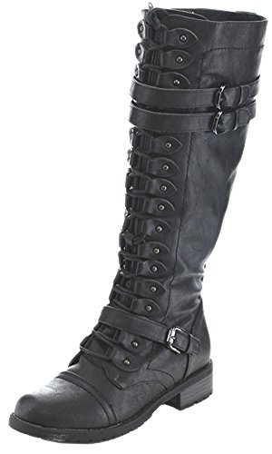 Wild Diva Women's Fashion Timberly-65 Military Knee High Combat Boots Shoes Black Pu 9
