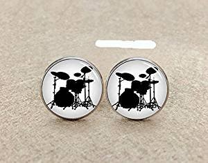 Amazon.com  Vintage Drum Set Glass Cuff Links-Silver Drum Kit ... 1347ef2f9