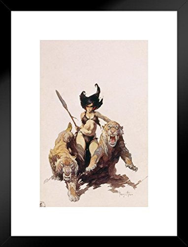 Poster Foundry The Huntress by Frank Frazetta Art Print Matted Framed Wall Art 20x26 inch ()
