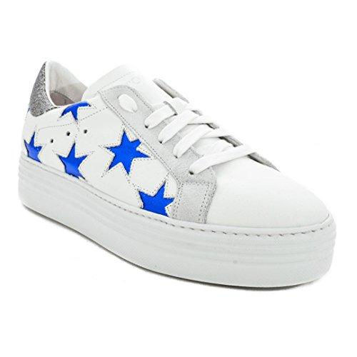 Blu d Sneakers Bianco Scarpa Stelle Vitello O Donna Oro Laminate Stokton 352 qAgUHnP