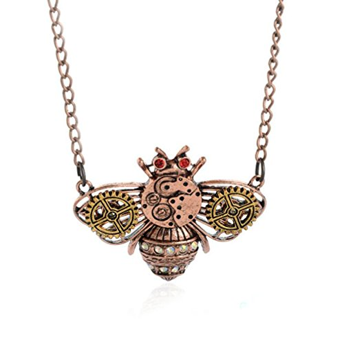 Gudeke Copper Red Mode Femmes Hommes Ancient Bee vitesse Steampunk Collier avec 56cm Chain