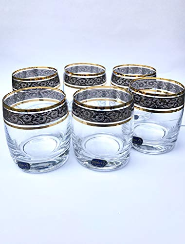 Crystal Whiskey Glasses - Set Of 6 by Bohemia 10oz/290ml Czech Exclusive Decor Perfect Whisky Glass or Scotch Glasses Series''Ideal'' Super Clear Whiskey Tumbler Decorated with GOLD and PLATINUM by Bohemia Crystal (Image #5)
