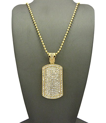 NEW ICED OUT DOG TAG PENDANT &3mm/27