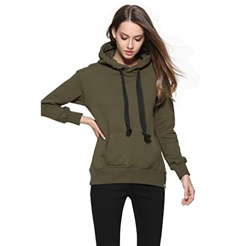 C2U Women Winter Autumn Fashion Long Sleeve Hooded Jacket Warm Hoodie Sweatshirt for cheap