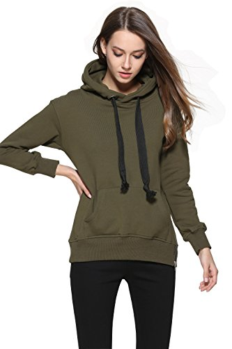 43e8b0bfac2df5 C2U Women Long Sleeve Pullover Kangaroo Pocket Casual Cotton Sweatshirt  Hoodie