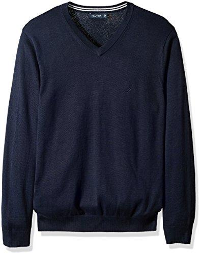 - Nautica Men's Long Sleeve Solid Classic V-Neck Sweater, Navy N71050, 5X Big-Tall