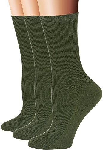 Green Womens Socks (Flora&Fred Women's 3 Pair Pack Cotton Crew Socks, Shoe: 5-9, Army Green)