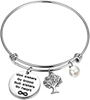 MYOSPARK Not Sisters by Blood But Sisters by Heart Forever Bracelet with Family Tree Charm Sister Jewelry Gift