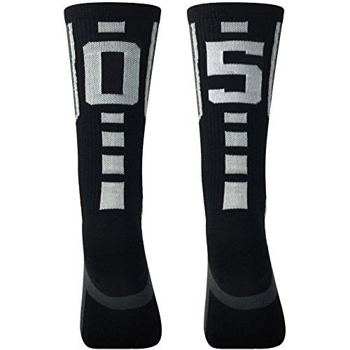 Over Calf Length Socks for Men Athletic, Comifun Long Black Grey Crew Basketball Football Soccer Sports Socks Over 18 Ages,1 Pair,