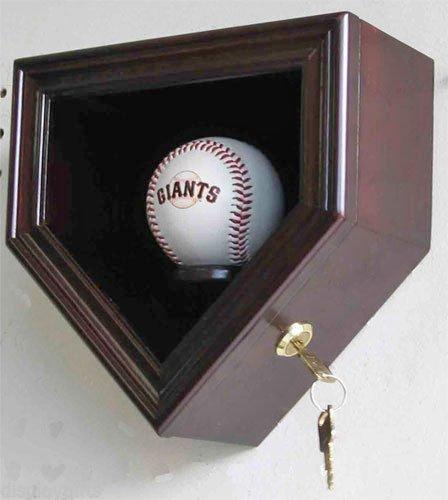Mahogany Home Shape Shadow Box For A Autographed Baseball Locks Uv Protection ()