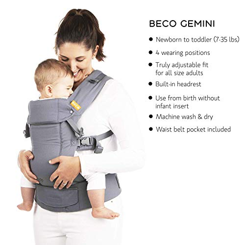 Beco Gemini Baby Carrier Iris Infants and Child from 7-35 lbs Certified Ergonomic Sleek and Simple 5-in-1 All Position Backpack Style Sling for Holding Babies