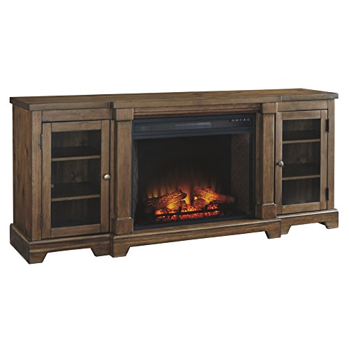 Signature Design by Ashley W719-68 Flynnter TV Stand with Fireplace Option, Medium Brown
