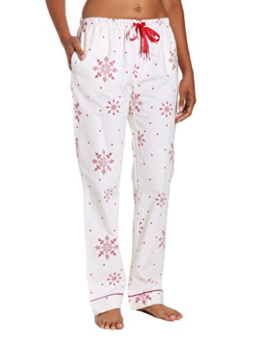 (Noble Mount Women's Cotton Flannel Lounge Pants - Lovely Snowflakes White-Red -)