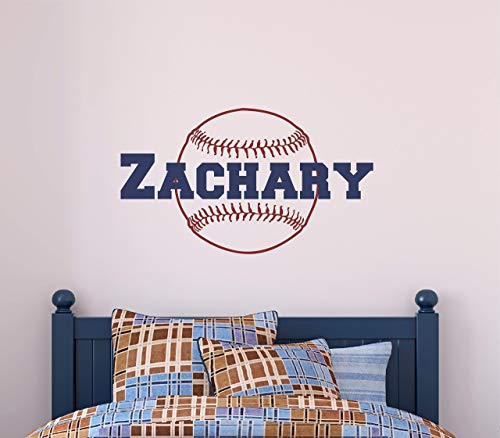 (Custom Name Baseball Wall Decal - Boys Personalized Name Baseball Sports Wall Sticker - Custom Name Sign - Custom Name Stencil Monogram - Boys Room Wall Decor)