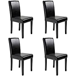 JAXPETY Set of 4 Urban Style Solid Wood LEARTHER Padded Parson Black Chair