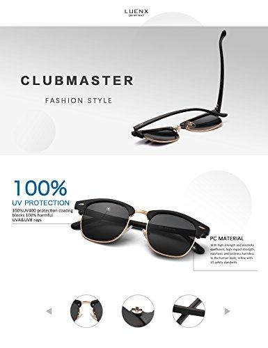 LUENX Men Women Clubmaster Polarized Sunglasses:UV 400 Protection 51MM with Case (23 Black(Matte Frame)/Non-Mirror, 51) by LUENX (Image #3)