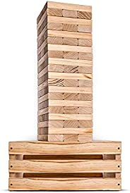 SWOOC Games - Giant Tower Game | 60 Large Blocks | Storage Crate / Outdoor Game Table | Starts Over 2.5ft Big